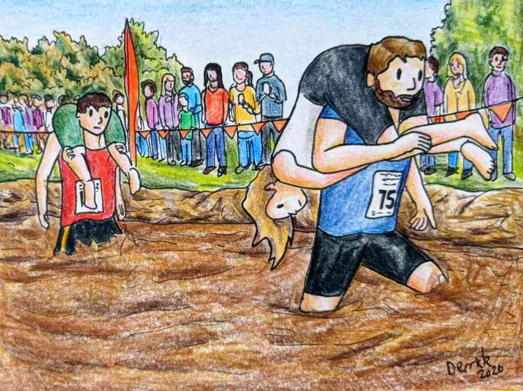 Drawing of competitive wife carrying in Finland