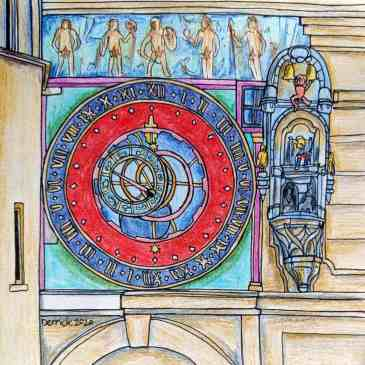 Sketch of Zytglogge Astronomical Clock in been Switzerland