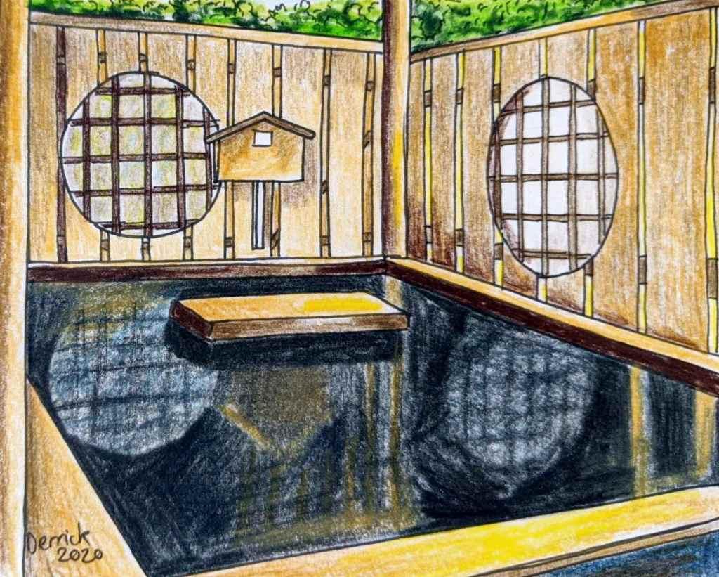 Drawing of black water onsen at yumori no sato Tokyo