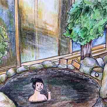 Drawing of Japanese black onsen Yumori no Sato tokyo