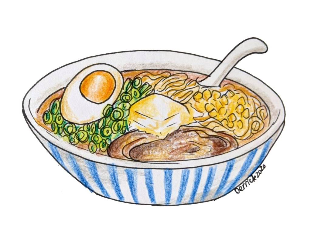 drawing of a bowl of ramen with a slice of butter melting in it