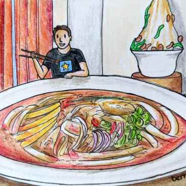 Drawing of a giant bowl of laksa Penang and the Wonderfood Museum