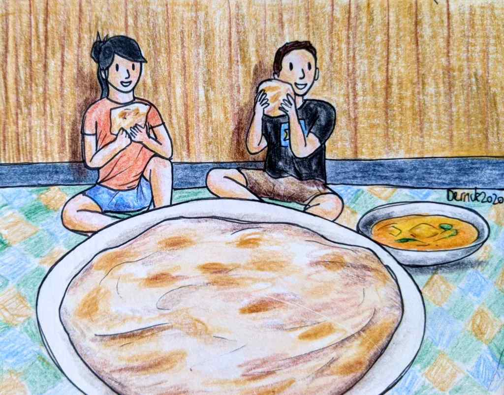 Drawing of two characters posing in front of a giant roti at the wonderfood museum in Penang