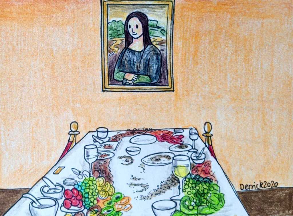 Drawing of mona lisa sculpture at the wonderfood museum in penang malaysia