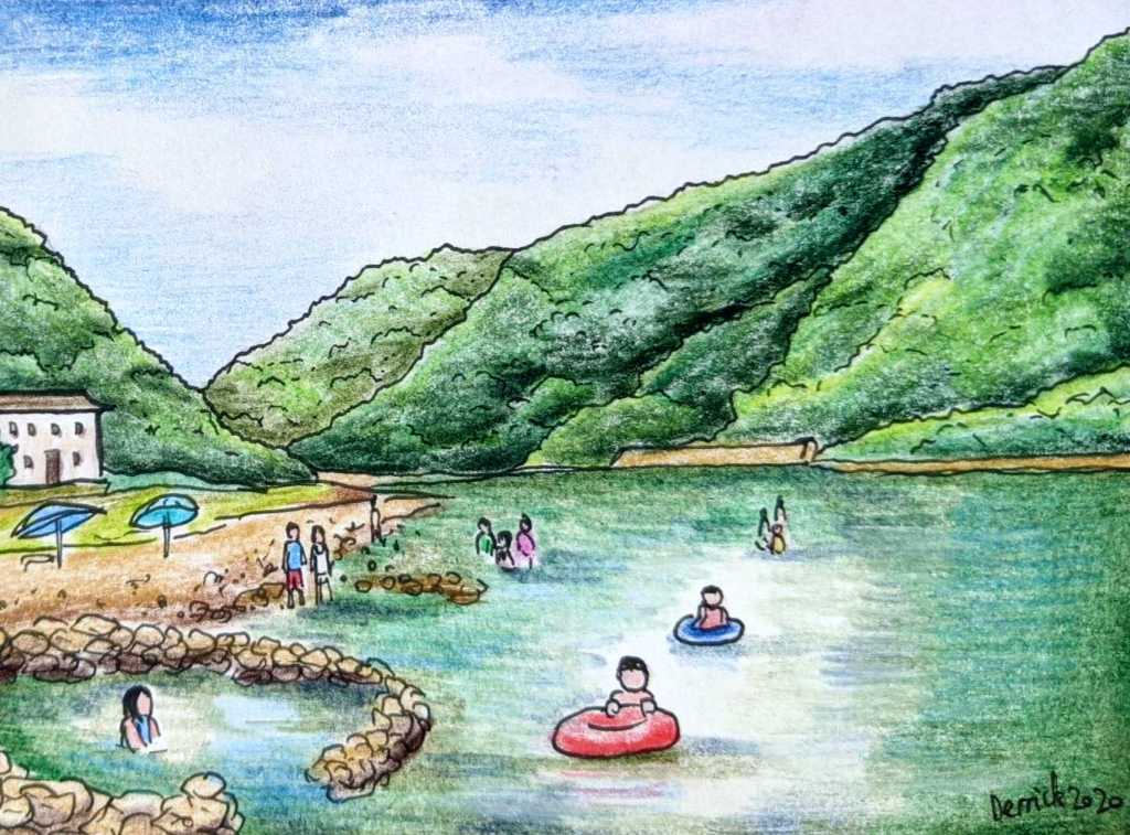 Drawing of people bathing in Kawayu river onsen Japan
