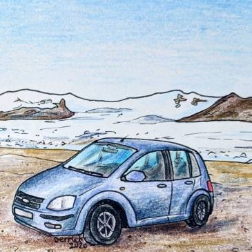 Drawing of a blue SadCars rental car in front of a glacier in Iceland