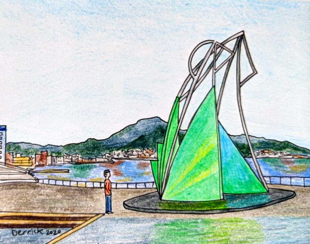 Drawing of Hakodate squid fishing monument statue