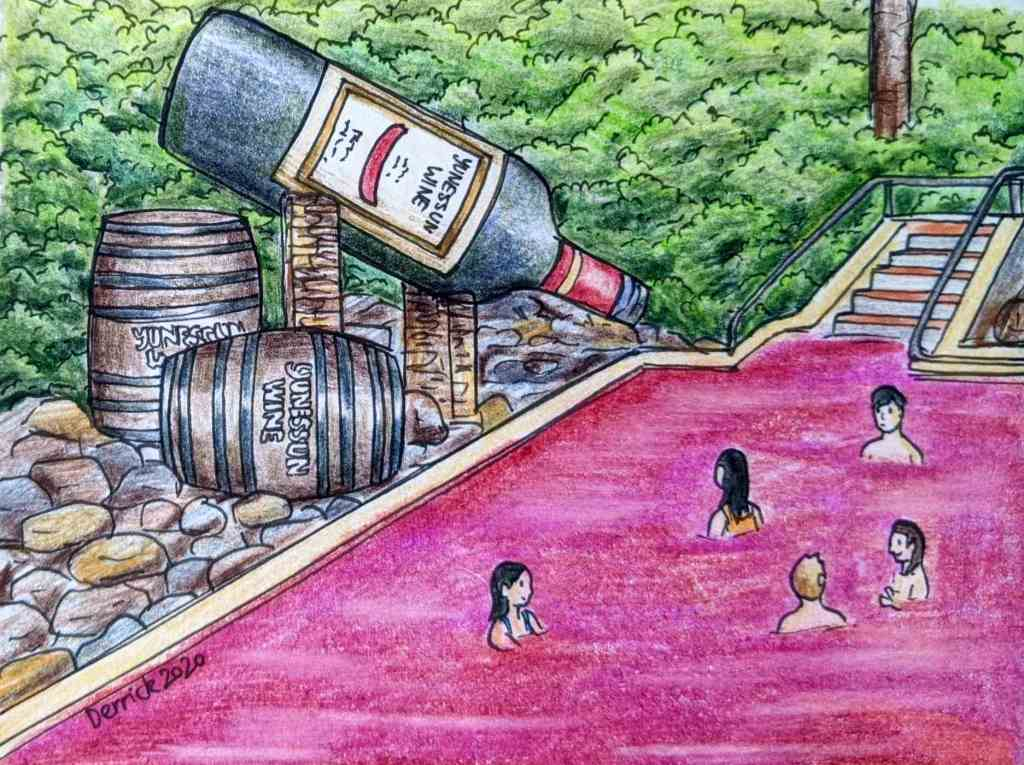 drawing of people bathing in a red wine onsen in Japan