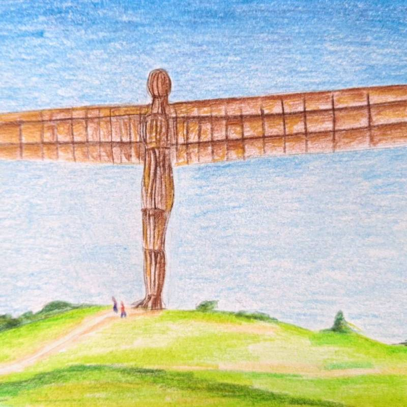 Drawing of the angel of the north sculpture in england