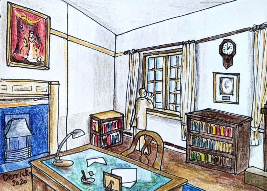 Drawing of the office of the former british consulate in motomachi hakodate