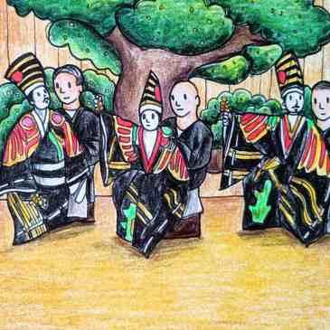 Drawing of three Hachioji Kuruma Ningyo puppeteers in Japan