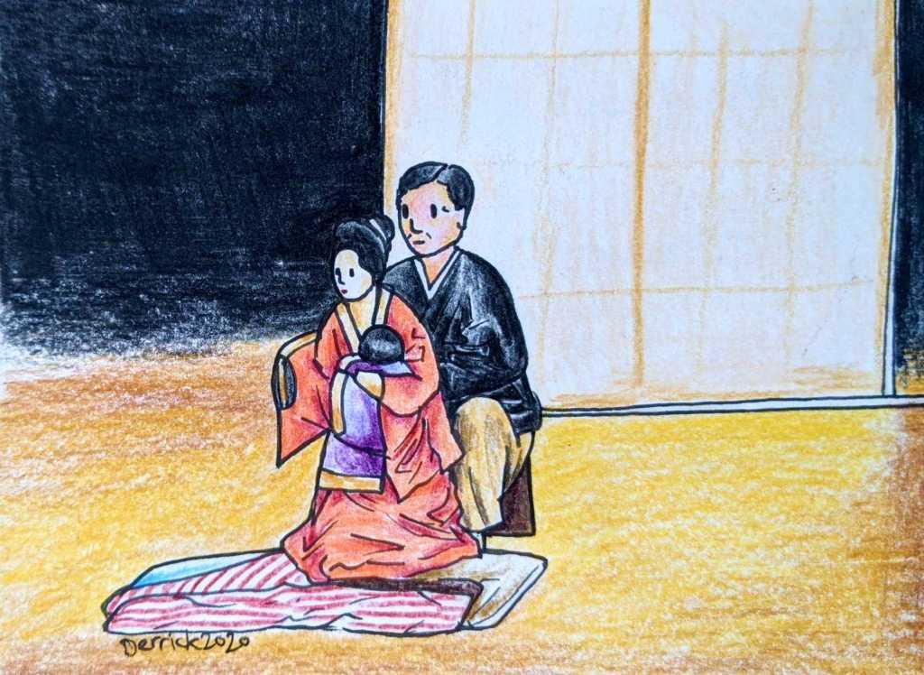 drawing of Nishikawa Koryu V of the Hachioji Kuruma Ningyo puppet company
