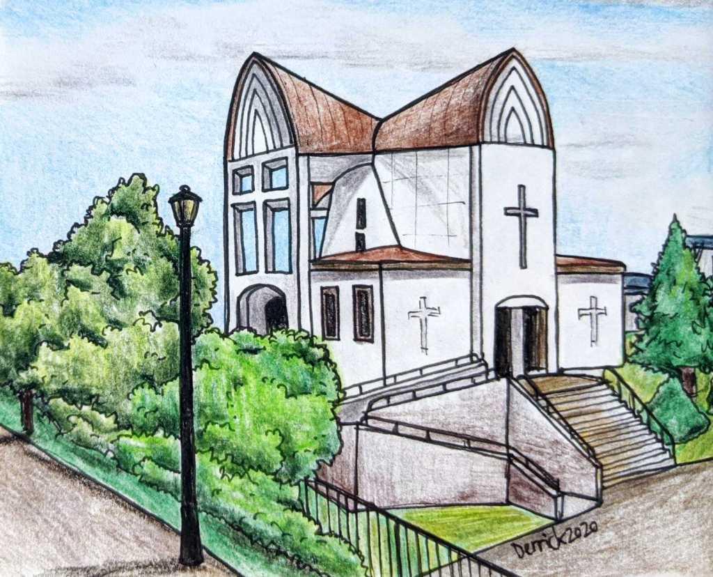 Drawing of st johns church hakodate japan motomachi area