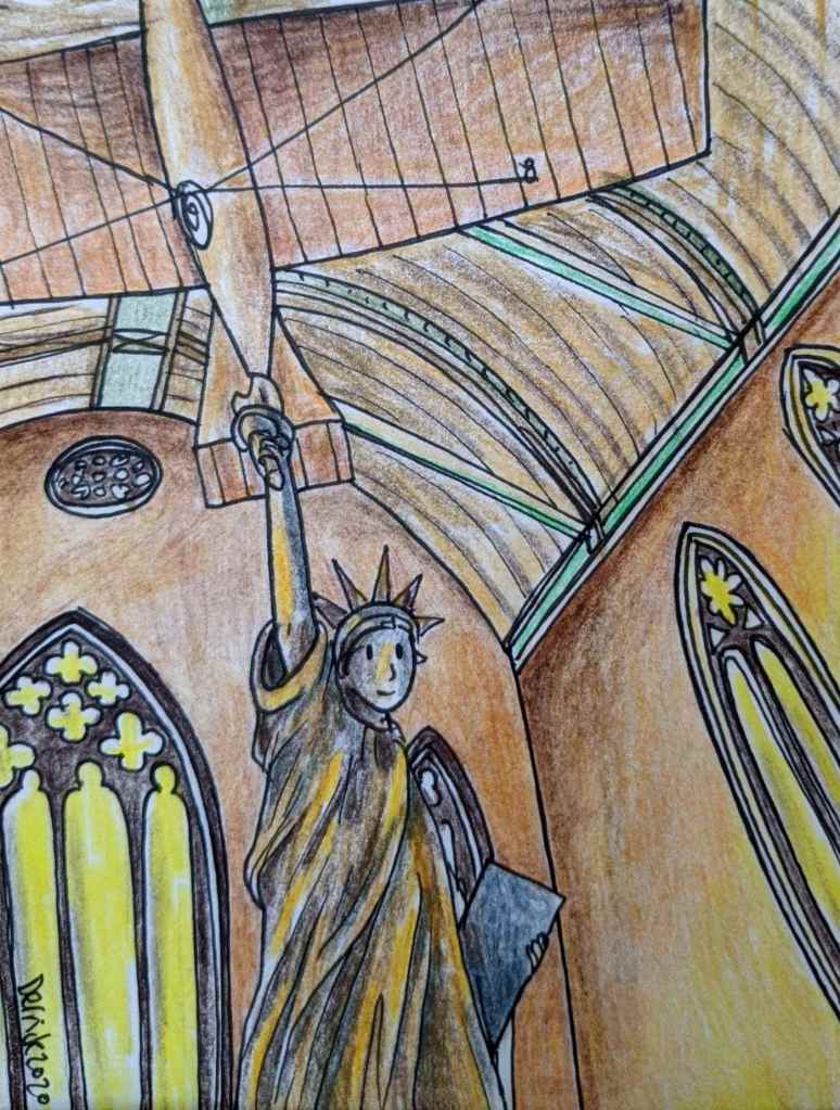 Drawing of a Statue of liberty replica in the musee des arts et metiers paris