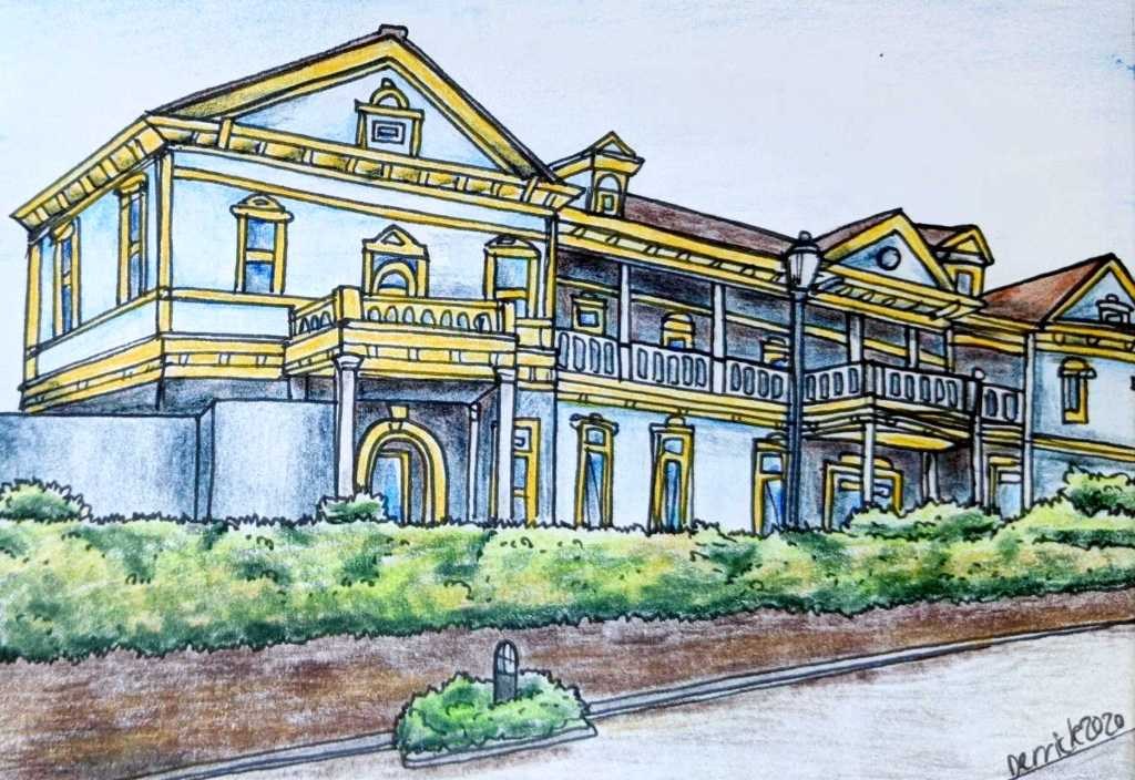 Drawing of Old Hakodate Town Hall in Motomachi