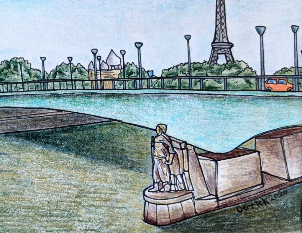 drawing of the zouave statue on the pont de l'alma in paris