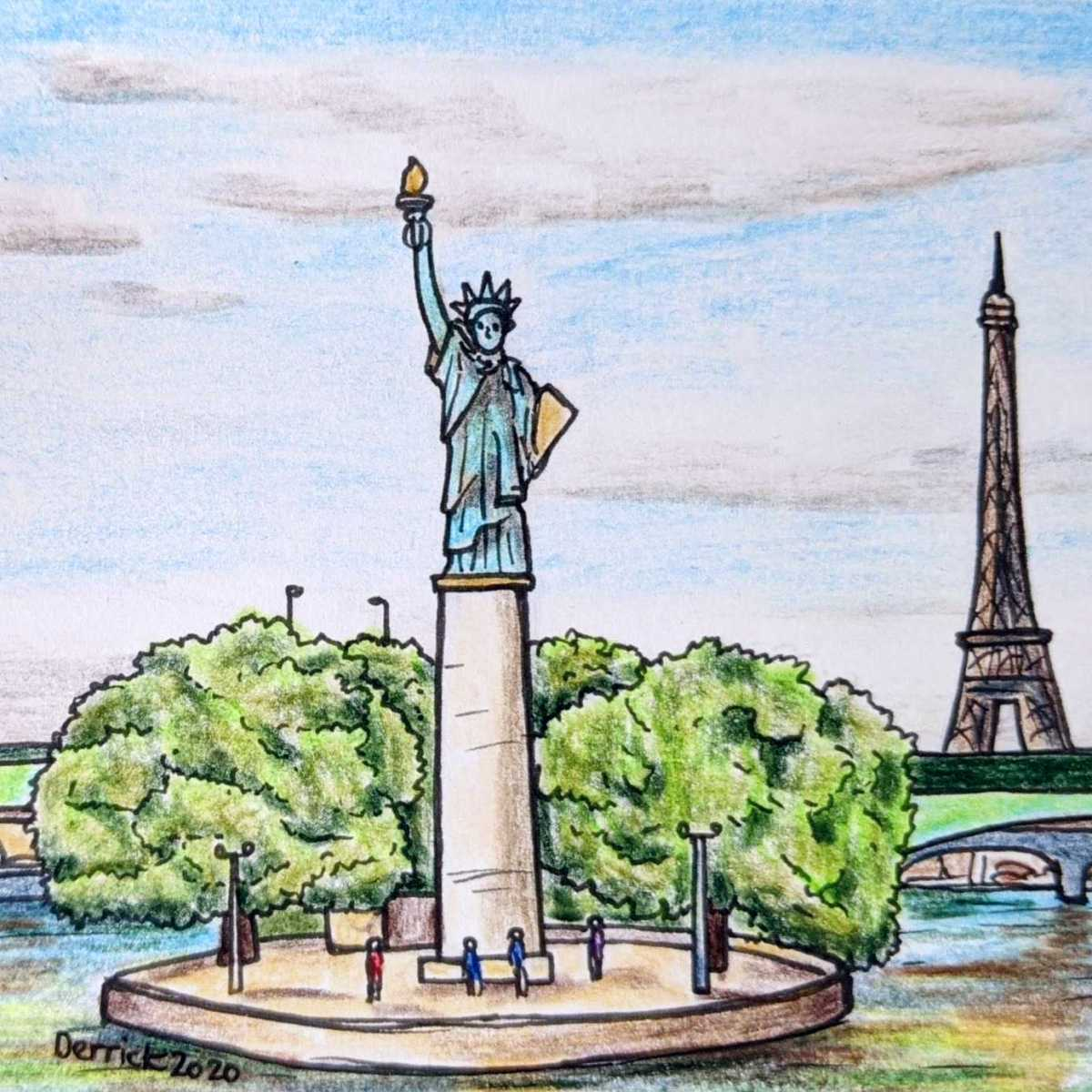 drawing of a replica of the statue on liberty in paris on the ile des cygnes