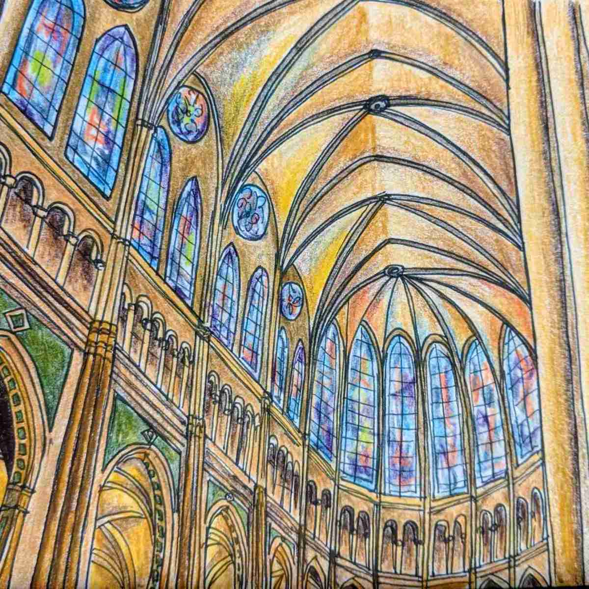 Drawing of Chartres cathedral ceiling ribbed vaults Gothic design