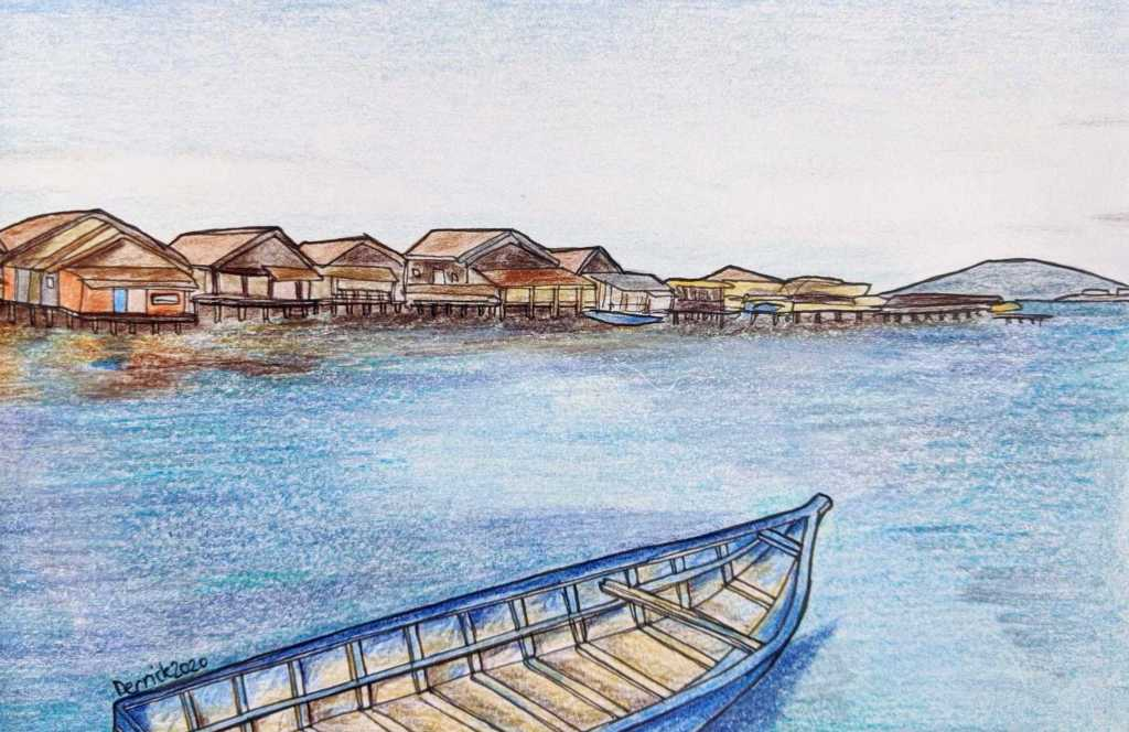 Drawing of clan jetties in Malaysia with a blue boat