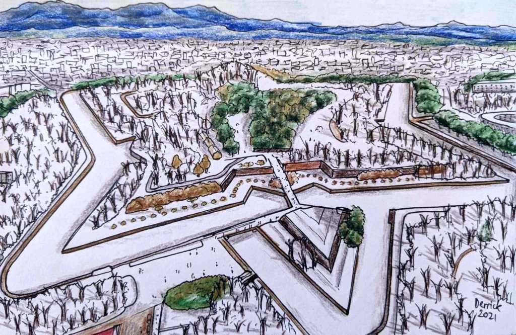 Drawing of Goryokaku Fort in the winter hakodate