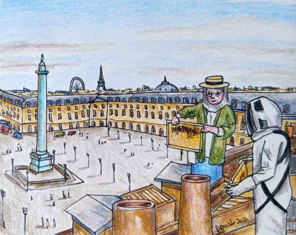 Drawing of a beekeeper on the rooftops of Paris