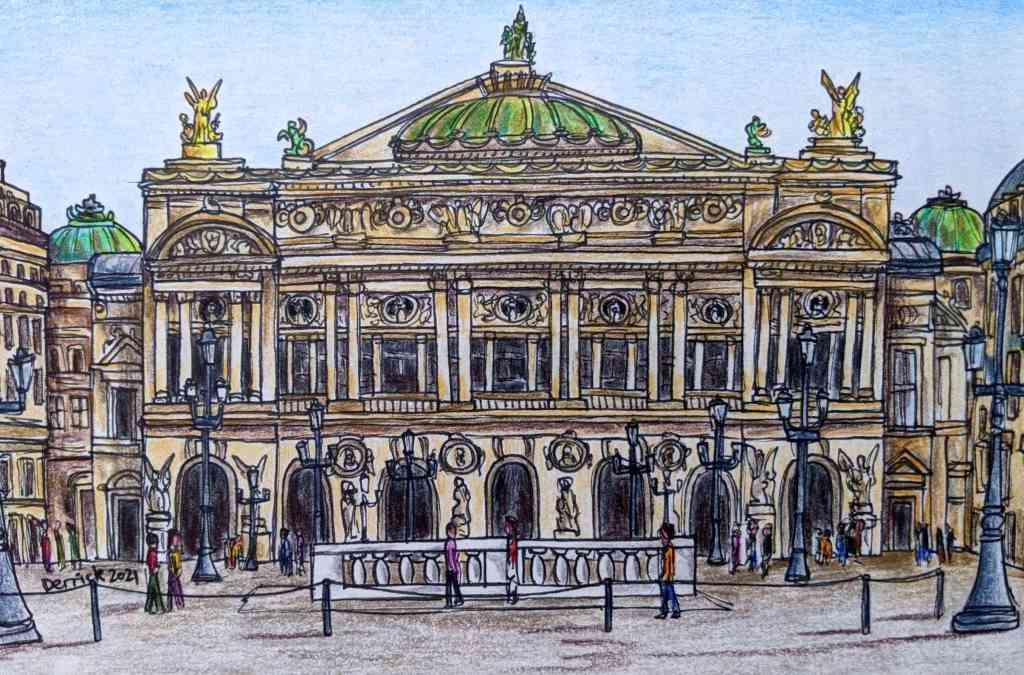 Drawing of the Palais Garnier Opéra Paris