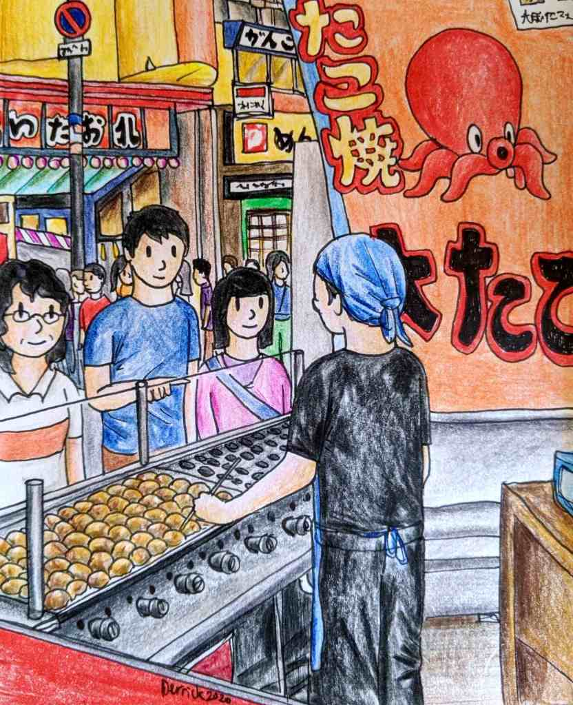 Drawing of a takoyaki market stall in Japan with a hotplate of fried octopus balls