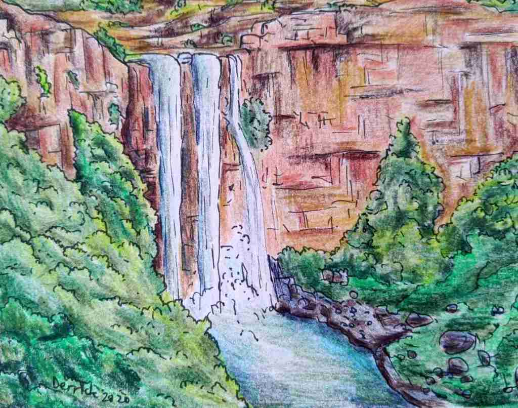 Drawing of Elands River waterfall South African waterfall sight