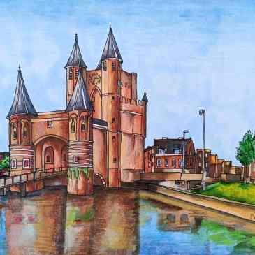 Drawing of Amsterdamse Poort city gate in Haarlem
