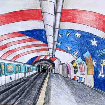 Drawing of Cadet Metro station Paris American flag theme