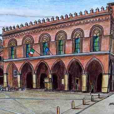Drawing of Cremona town hall Palazzo del Comune