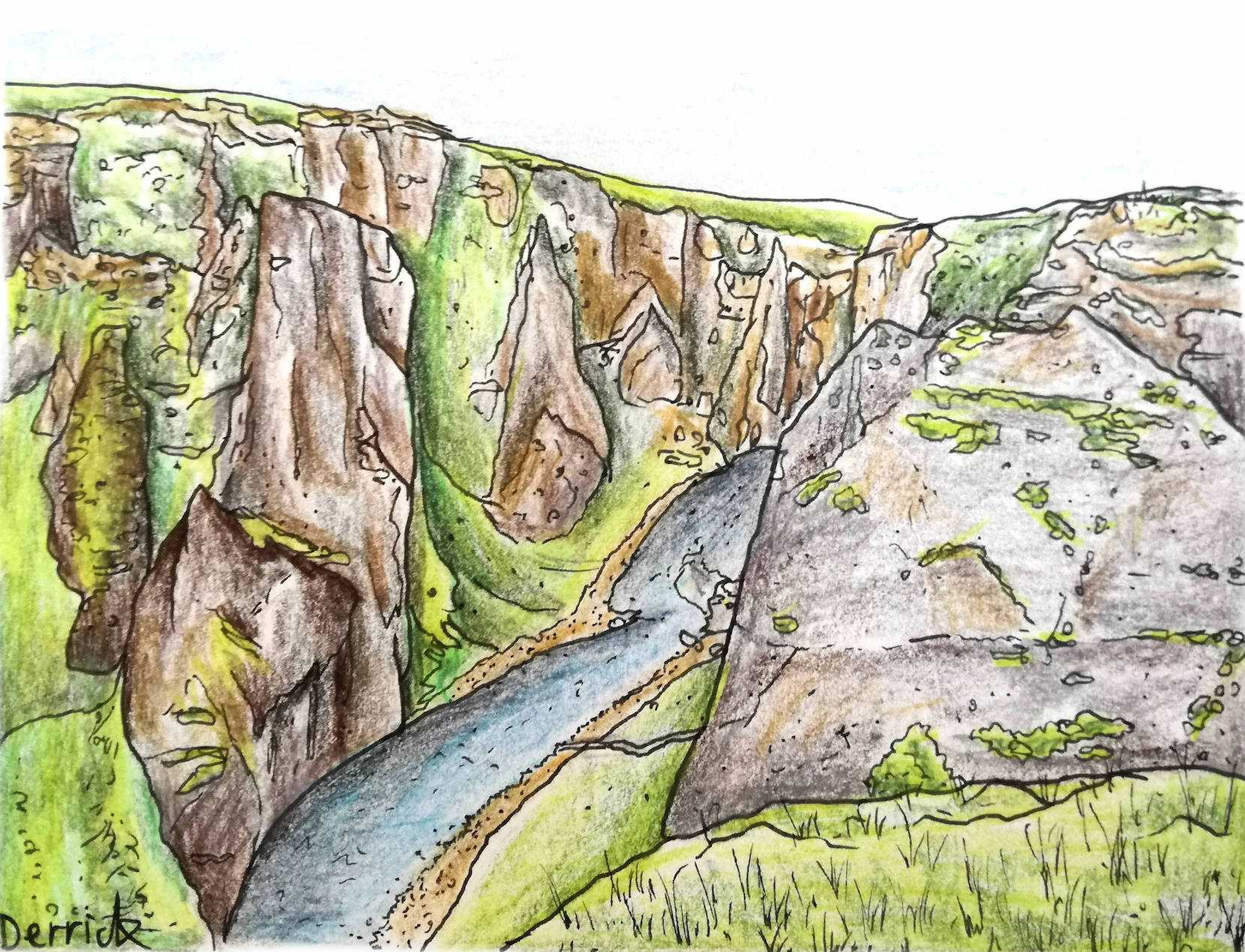 drawing of Fjaðrárgljúfur