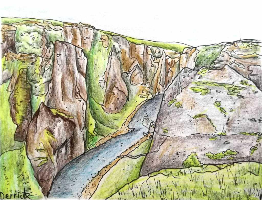 drawing of Fjaðrárgljúfur