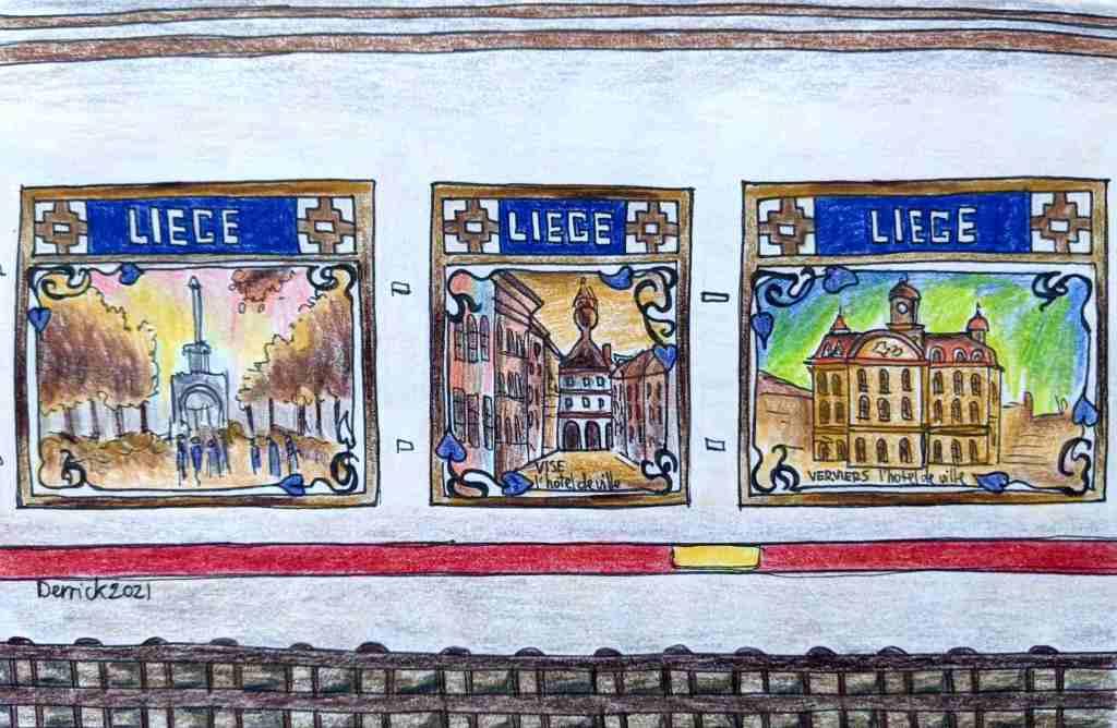 Drawing of Liege Paris metro station murals