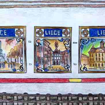 Drawing of Liege Paris metro station murals