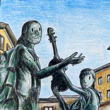 Drawing of the statue of Antonio Stradivari in the Italian city of Cremona