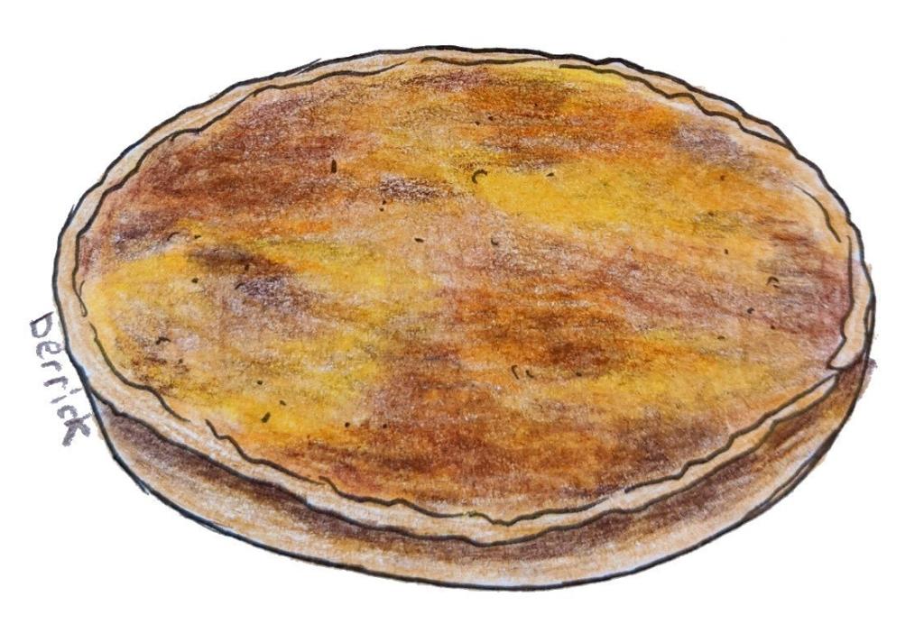 Illustration of creme catalan lemon orange creme brulee french custard dessert