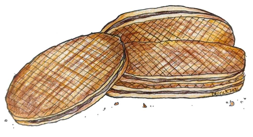 Illustration of French waffles from Lille gaufres Fourrée Lilloise vergeoise filling