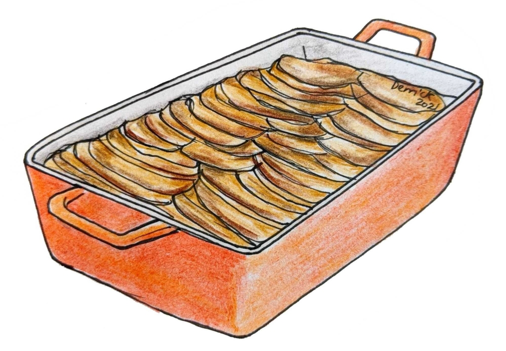 Illustration of gratin dauphinois traditional French cuisine