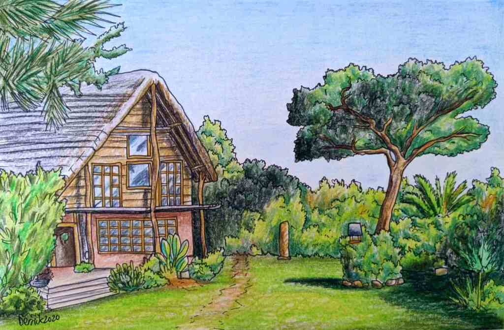 Drawing of an African lodge luxury accomodation in Zambia Africa