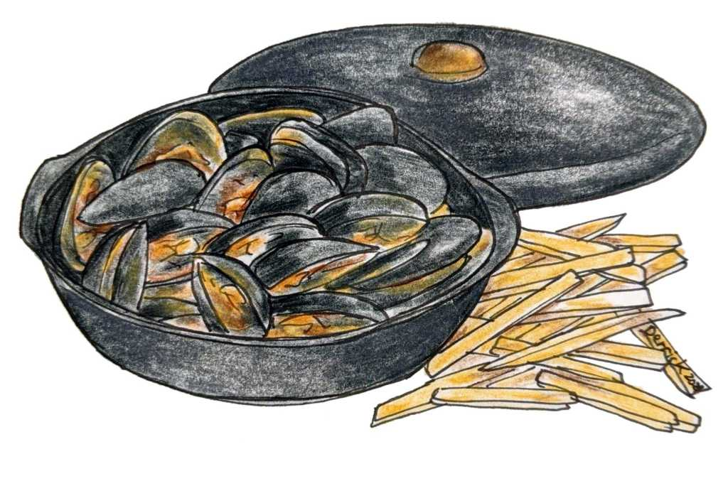 Illustration of Breton bouchot Mussels and French fries