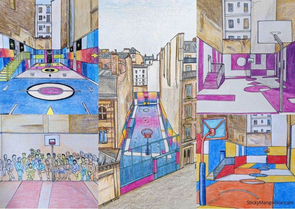 Drawing of pigalle duperré basketball court with different designs