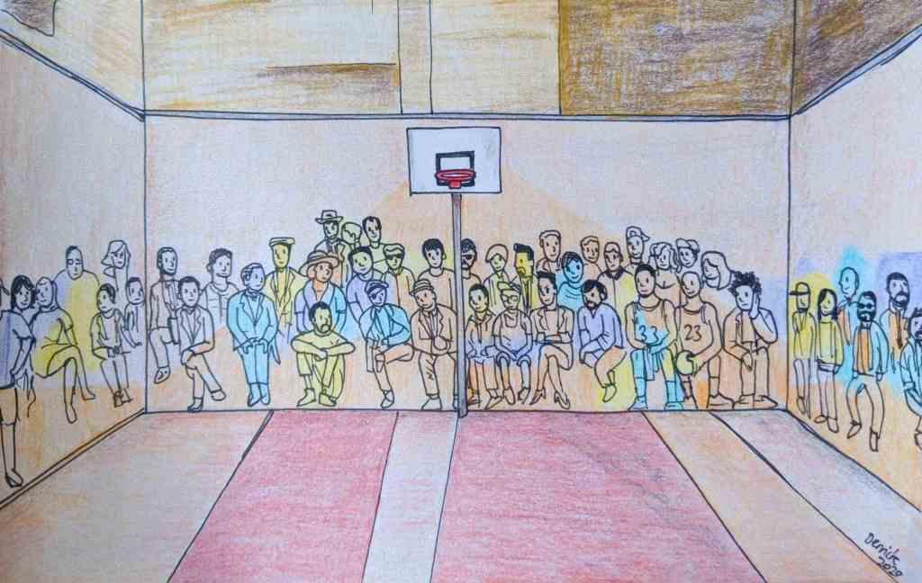 Pigalle Duperré basketball court LeBron James portrait michael Jordan art Nyno wu