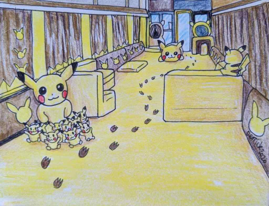 Drawing of Japanese Pokemon train Pikachu plush