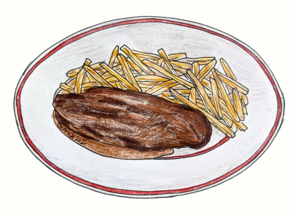 Illustration of French steak and fries