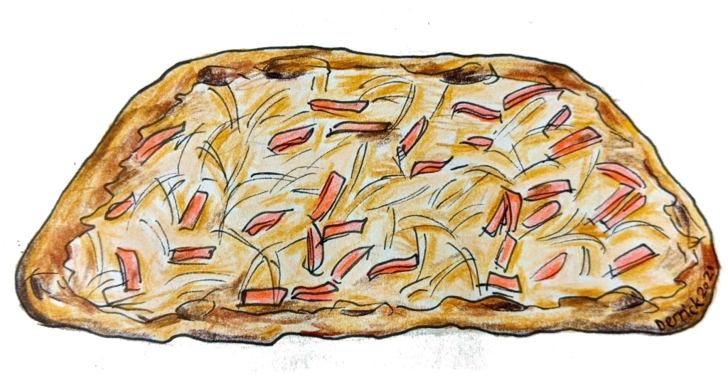 Illustration of French cuisine tarte flambee