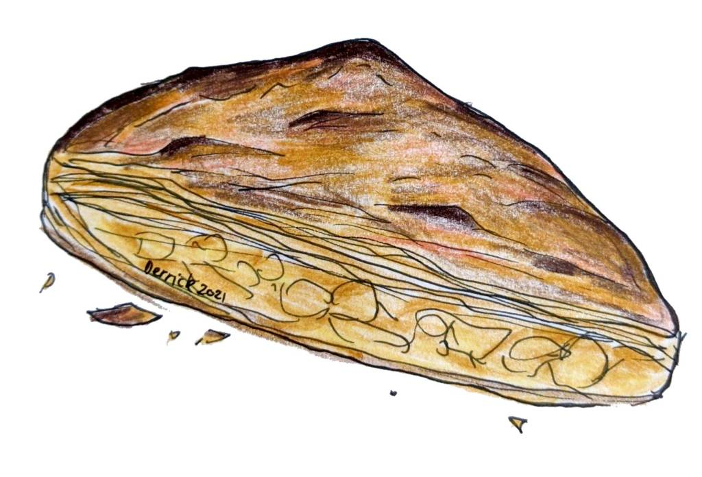 Illustration of French apple pie croustade aux pommes flaky crust