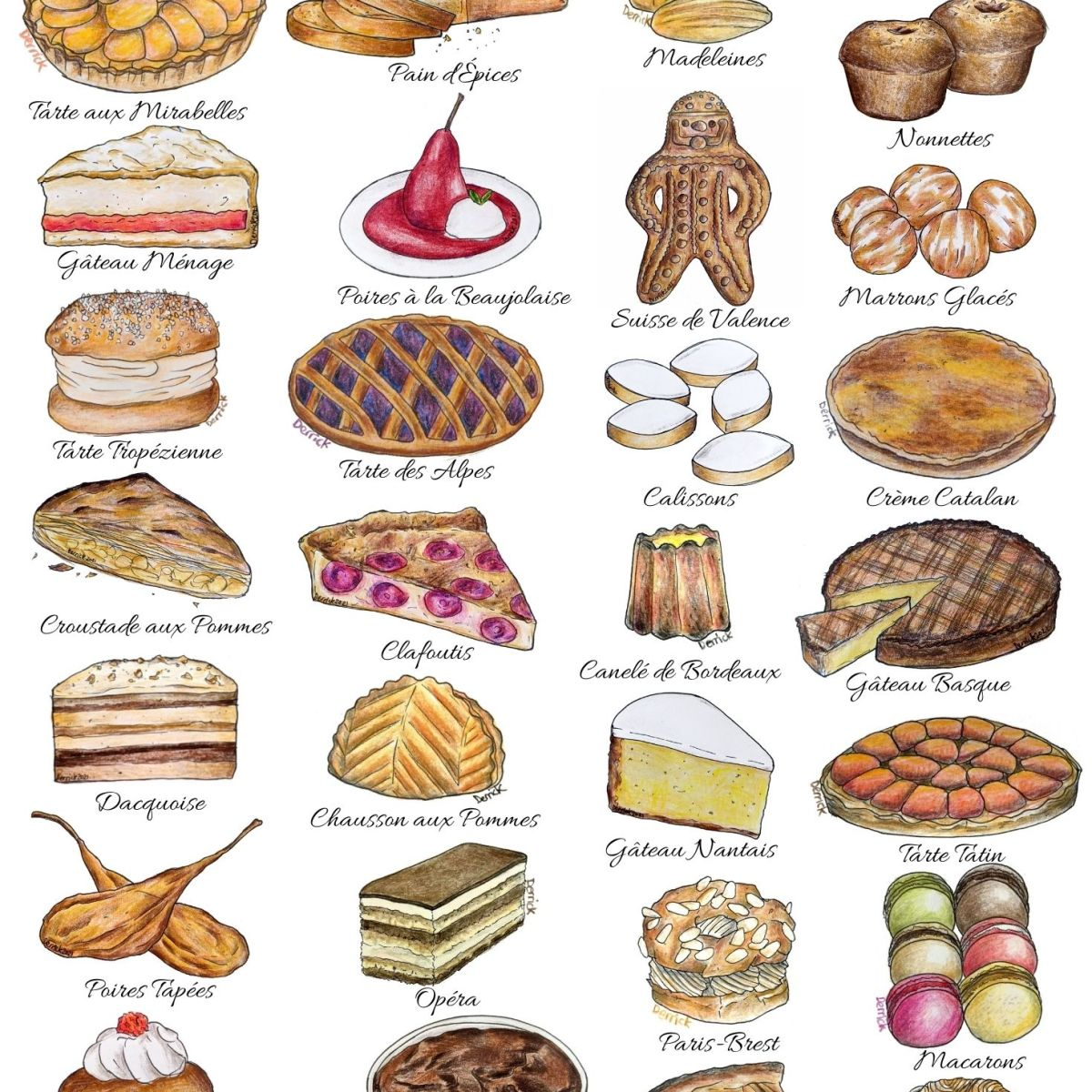 Illustration of the different desserts from the different regions of france