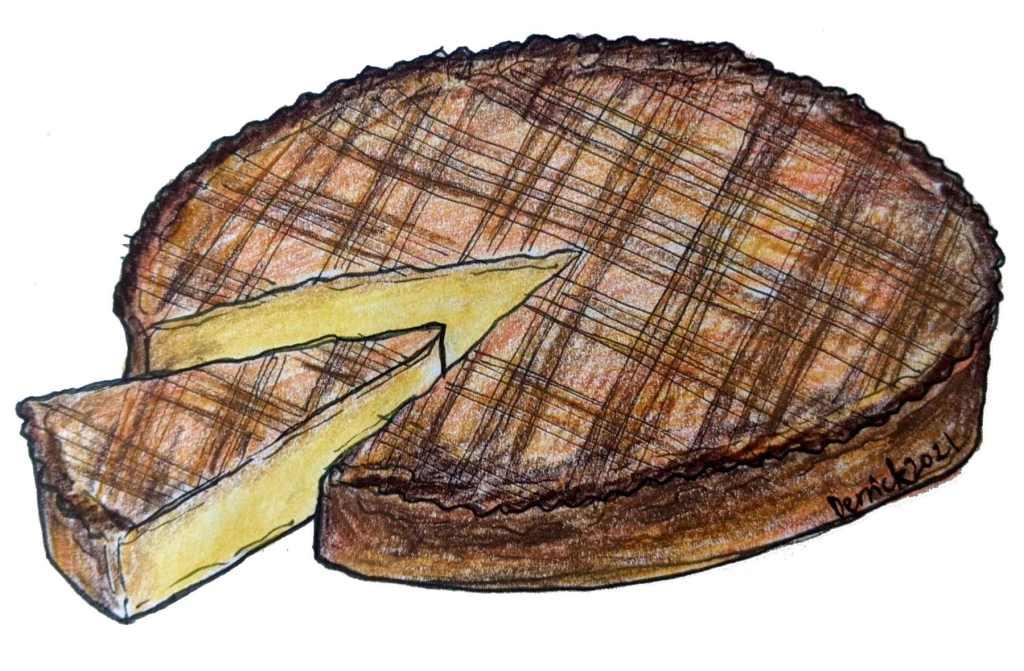Illustration of traditional Basque dessert gateau basque