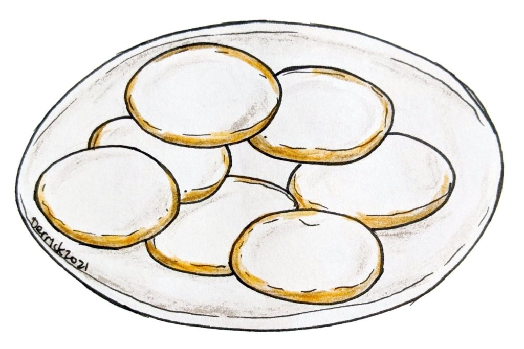 Illustration of a plate of palets de Dames traditional cookies from france